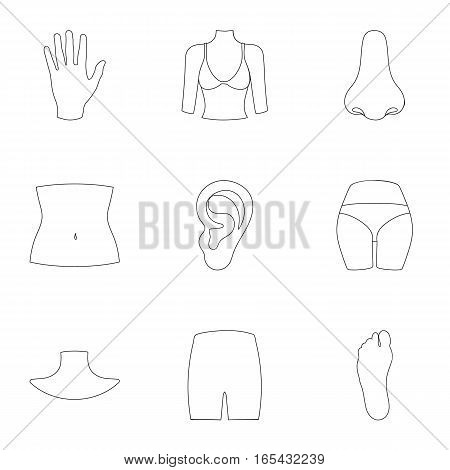Part of body set icons in outline style. Big collection of part of body vector symbol stock