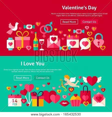 Happy Valentine Day Website Banners. Vector Illustration for Web Header. Love Modern Flat Design.