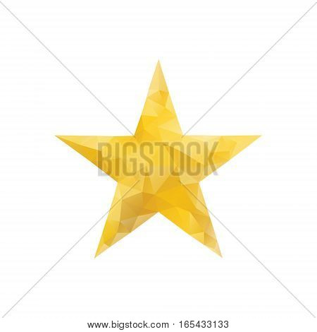 Polygonal gold star isolated. Low poly style