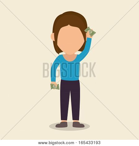 businessperson character with bills vector illustration design