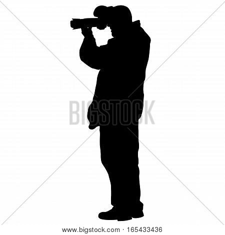 Cameraman with video camera. Silhouettes on white background. Vector illustration.