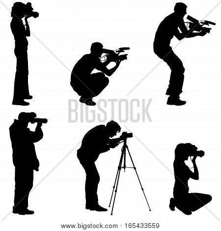 Set cameraman with video camera. Silhouettes on white background. Vector illustration.