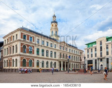 Riga Latvia - 25-August-2015: The building of the Town Hall on the main square in Riga Latvia.