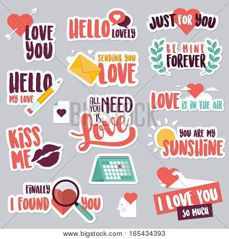 Set of love stickers for social network. Sweet and funny stickers for mobile messages, chat, social media, networking, web design. Stickers for Valentine day, wedding, love messages.