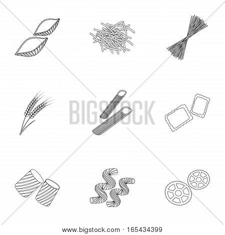 Types of pasta set icons in outline design. Big collection of types of pasta vector symbol stock illustration