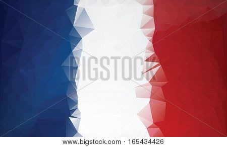 Polygonal France flag. Low poly style background