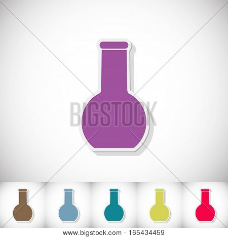 Medical flask. Flat sticker with shadow on white background. Vector illustration