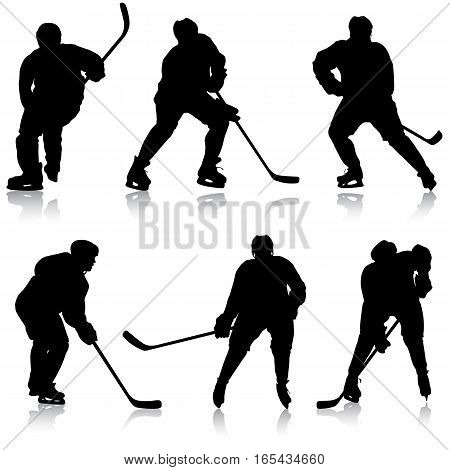 Set of silhouettes hockey player. Isolated on white. Vector illustrations.