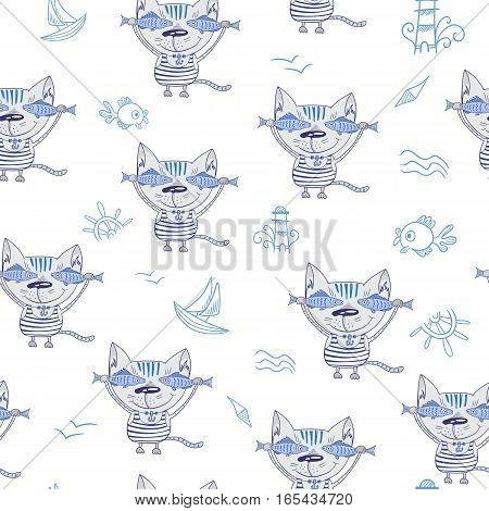 Cute character nautical seamless texture on white background for textile and print design