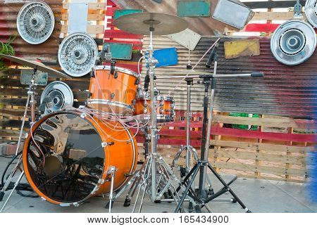 The drums stage is decorated by alloy wheels Retro style