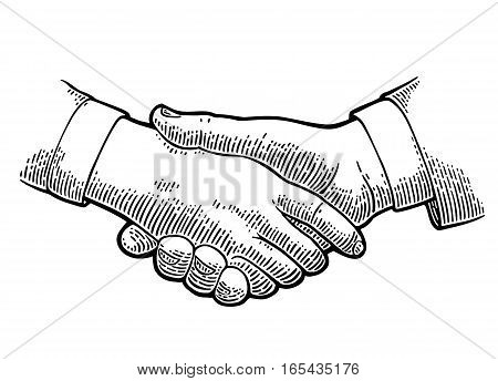 Handshake. Vector black vintage engraving illustration isolated on a white background. For web poster info graphic.
