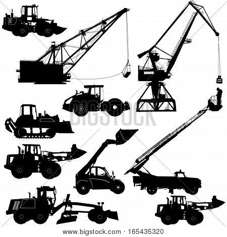 Set of silhouettes construction machinery. Vector illustration.