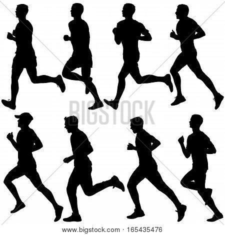 Set of silhouettes. Runners on sprint men. vector illustration.