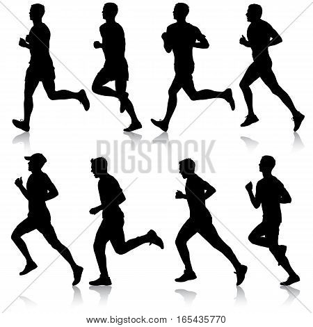 Set of silhouettes. Runners on sprint men. vector illustration.