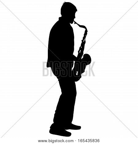 Silhouette musician, saxophonist player on white background, vector illustration.