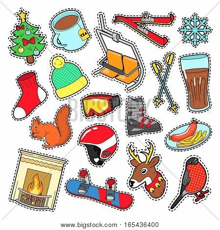 Winter Stickers, Badges, Patches Decoration Set with Snow, Warm Clothes and Christmas Tree. Vector Doodle