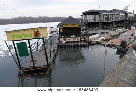 Belgrade, Serbia. January 16Th 2017: Frozen Danube River In Belgrade, Serbia