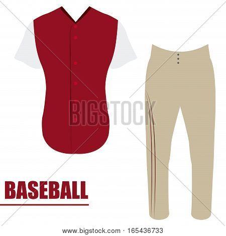 Isolated baseball uniform on a white background, Vector illustration