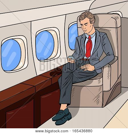 Pop Art Businessman Flying Airplane and Texting Message on Cellphone. Vector illustration
