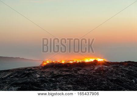 Sunrise at Erta Ale volcano and lava fields, Danakil Depression, Ethiopia
