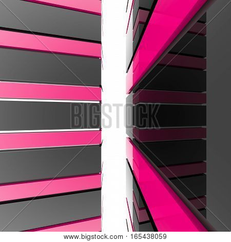 Futuristic black and pink architecture background. Abstract architectural building of the future. 3D rendering.