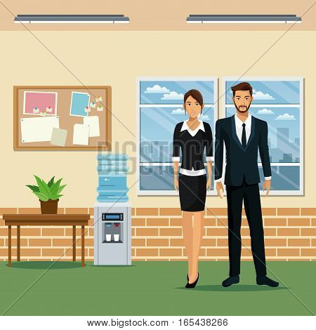 man and woman office work place table plant pot cooler water vector illustration eps 10
