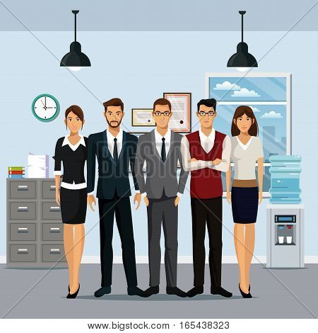 group people workplace cabinet file cooler water clock lamp vector illustration eps 10