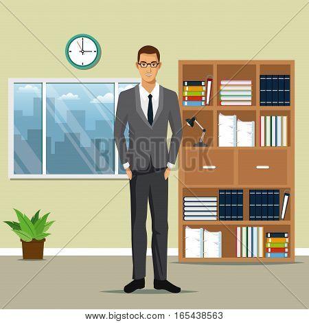 man business office work bookshelf plant pot clock window vector illustration eps 10