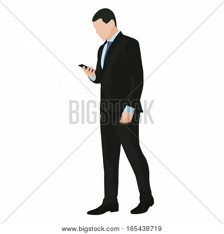 Business man is going with mobile phone in hand and writing message vector illustration