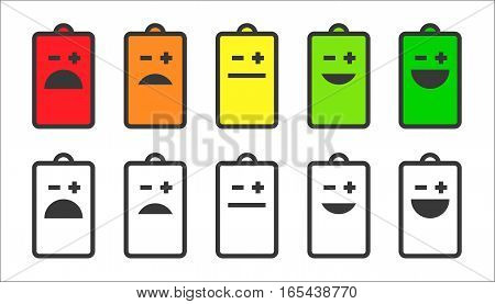 Battery indicator emoji or smiley faces icons. Shows battery level and health of the battery in funny way.