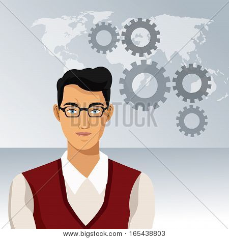 man business office with glasses world gears vector illustration eps 10
