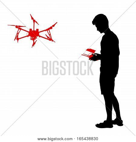 Black silhouette of a man operates unmanned quadcopter vector illustration.