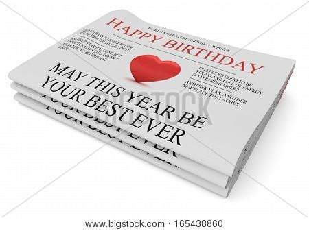 Pile of Happy Birthday Newspapers With Funny Wishes 3d illustration on white background