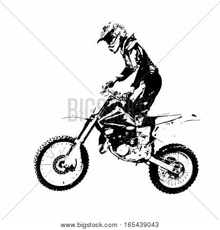 The Rider participates motocross championship. Vector illustration.