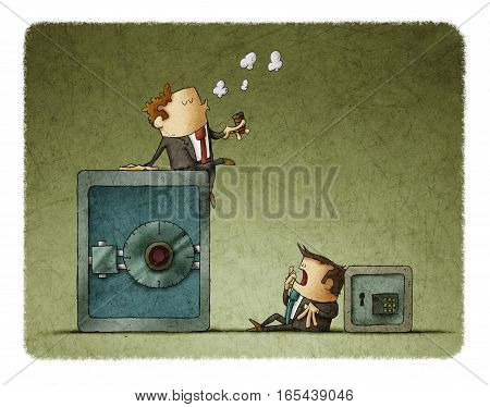 Rich businessman sitting in a big safe and poor businessman with a small safe