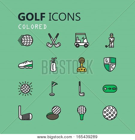 Simple modern set of golf icons. Premium symbol collection. Vector illustration. Simple pictogram pack.