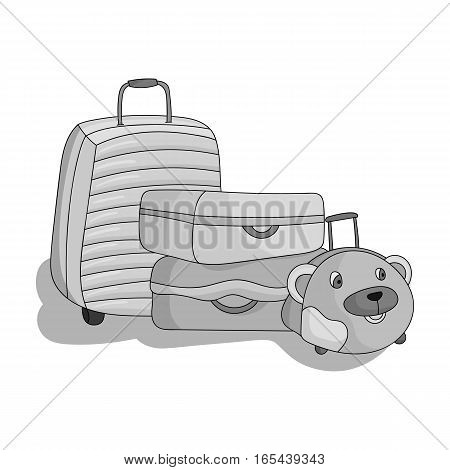 Luggage icon in monochrome design isolated on white background. Family holiday symbol stock vector illustration.