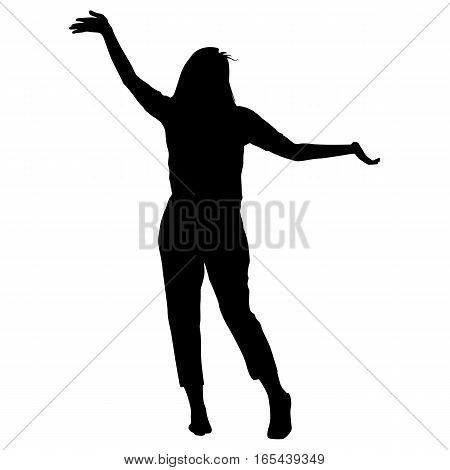 Silhouette young girl jumping with hands up, motion. Vector illustration.
