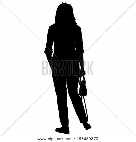 Silhouette young girl with handbag standing. Vector illustration.