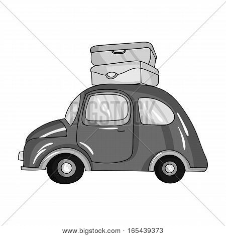 Red car with a luggage on the roof icon in monochrome design isolated on white background. Family holiday symbol stock vector illustration.