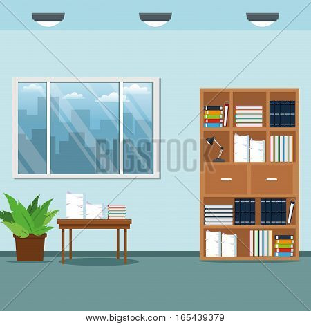 office workspace furniture table books lamp potted plant vector illustration