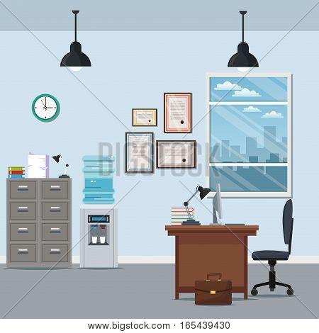 office workspace chair desk cabinet water dispenser certificate lamp window city silhouette vector illustration