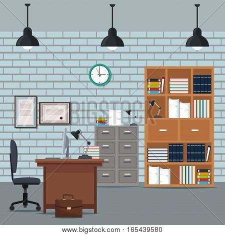office workspace desk armchair furniture books cabinet diploma clock wall brick vector illustration