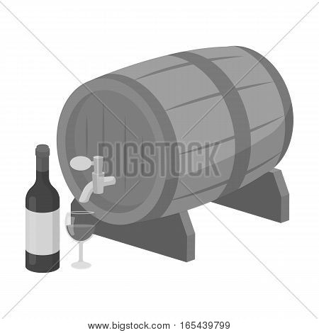 Wooden wine barrel icon in monochrome design isolated on white background. France country symbol stock vector illustration. - stock vector