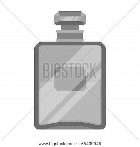 Bottle of french perfume icon in monochrome design isolated on white background. France country symbol stock vector illustration. - stock vector