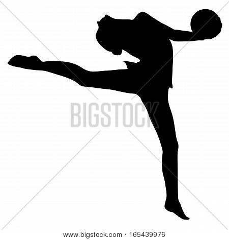 Silhouette girl gymnast with the ball. Vector illustration.