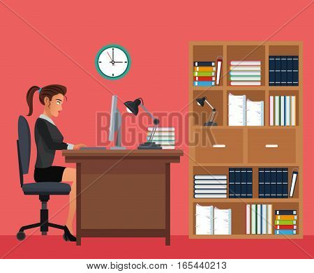 woman working office space desk bookshelf clock vector illustration eps 10