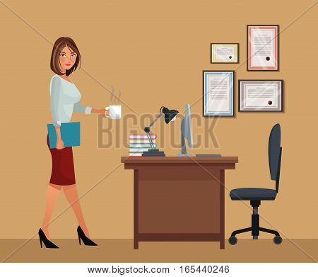 woman with cup coffee office desk chair laptop lamp vector illustration eps 10