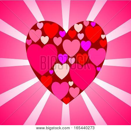 Delicate pink card with a big red heart of many small in the center against a background of light rays in a pop art style.