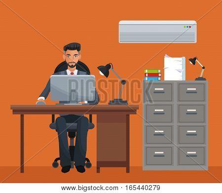 man sitting workplace cabinet file desk laptop vector illustration eps 10